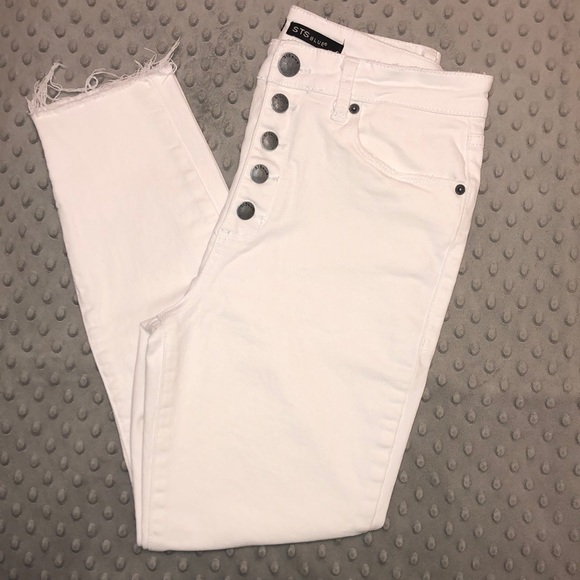STS Blue Denim - WORN ONCE High Rise Crop Skinny White Jeans